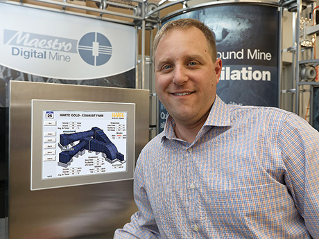 Derrick Meyer, system technologist, Maestro Digital Mine, demonstrates the new FanMon primary and booster fan monitoring system.